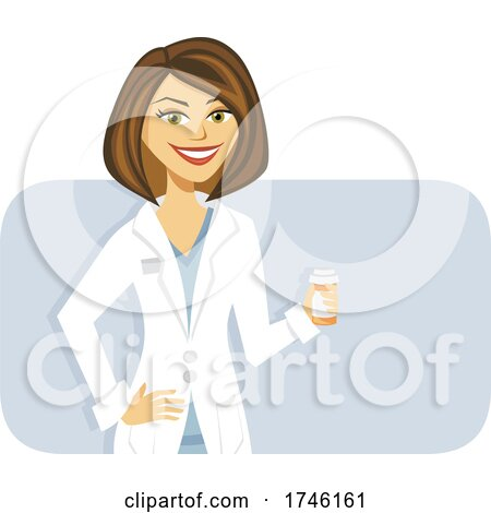 Happy Pharmacist or Doctor Holding a Pill Bottle by Amanda Kate