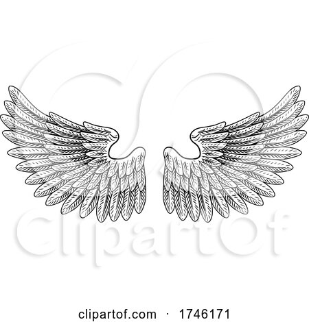 Pair of Wings Vintage Engraved Retro Style by AtStockIllustration