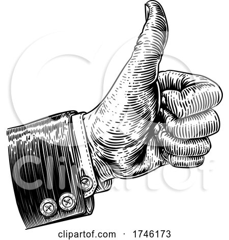 Thumb up Hand Woodcut Vintage Etching by AtStockIllustration