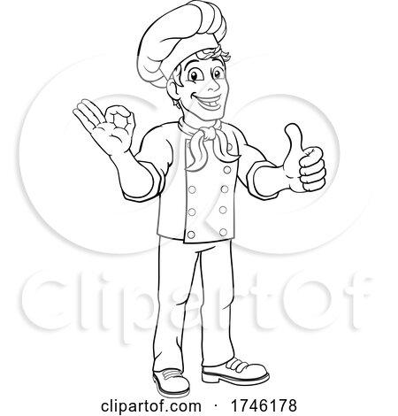 Chef Baker Cook Man Cartoon Character by AtStockIllustration