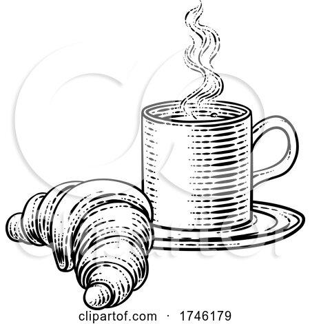 Coffee Tea Cup Mug and Croissant Woodcut by AtStockIllustration