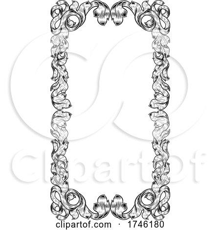 Filigree Heraldry Leaf Pattern Floral Border Frame by AtStockIllustration
