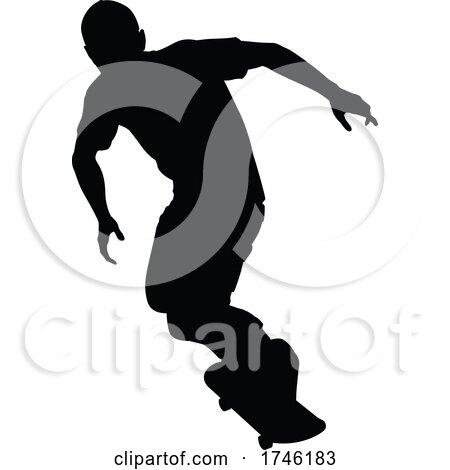 Silhouette Skater Skateboarder by AtStockIllustration