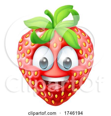 Strawberry Cartoon Emoticon Emoji Mascot Icon by AtStockIllustration