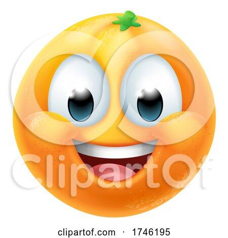 Orange Fruit Cartoon Emoticon Emoji Mascot Icon by AtStockIllustration