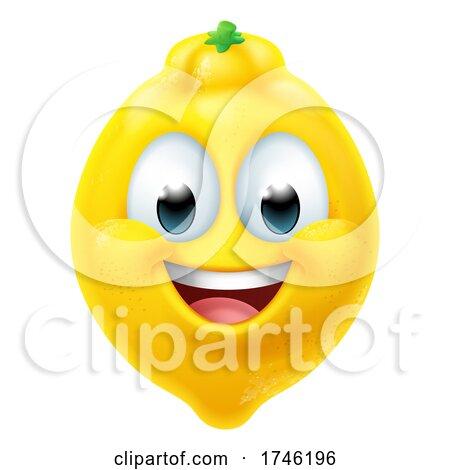 Lemon Fruit Cartoon Emoticon Emoji Mascot Icon by AtStockIllustration