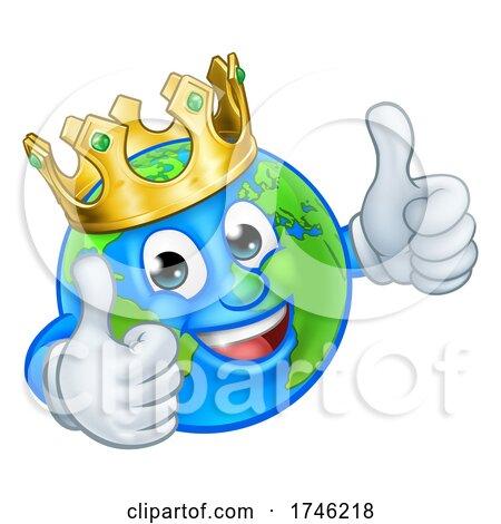 King Gold Crown Earth Globe World Cartoon Mascot Posters, Art Prints
