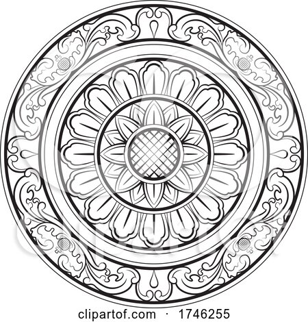 Sinhala Traditional Floral Art Black and White by Lal Perera