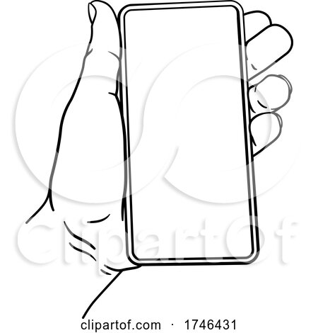 Hand Holding Mobile Phone Vintage Style by AtStockIllustration