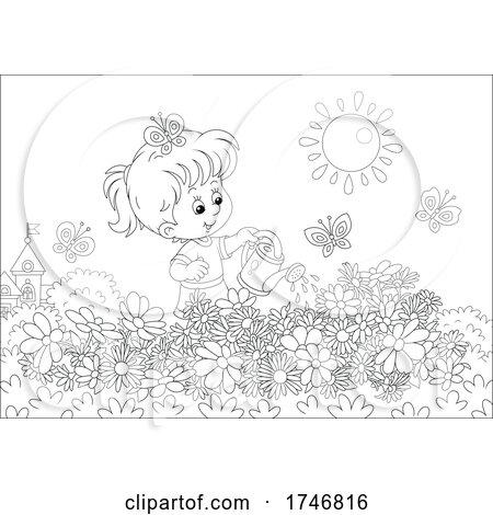 Black and White Girl Watering Her Flower Garden by Alex Bannykh