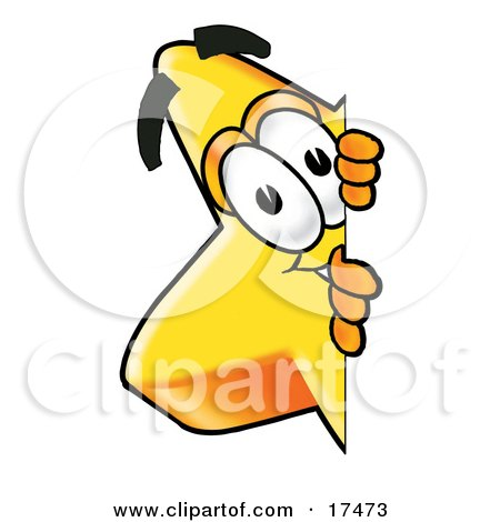 Clipart Picture of a Star Mascot Cartoon Character Peeking Around a Corner by Toons4Biz