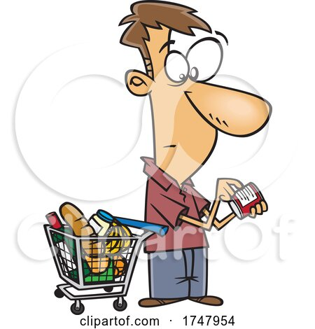 Cartoon Man Grocery Shopping and Reading Nutrition Labels Posters, Art Prints