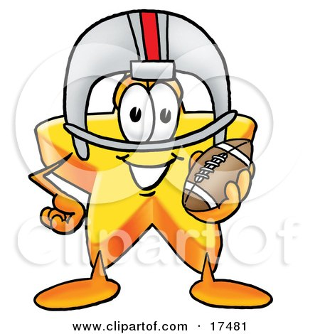 Clipart Picture of a Star Mascot Cartoon Character in a Helmet, Holding a Football by Toons4Biz