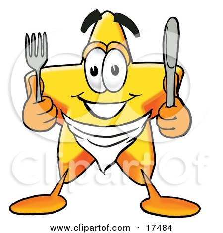 Clipart Picture of a Star Mascot Cartoon Character Holding a Knife and Fork by Toons4Biz