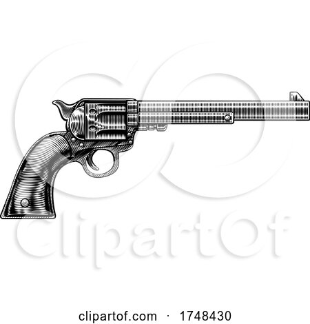 Western Cowboy Gun Pistol Revolver Woodcut Style by AtStockIllustration