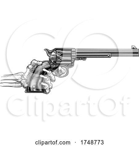 Skeleton Hand Western Cowboy Gun Pistol Woodcut by AtStockIllustration