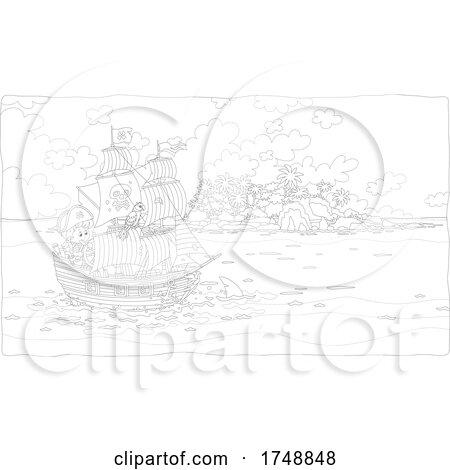 Boy Sailing a Pirate Ship by an Island by Alex Bannykh