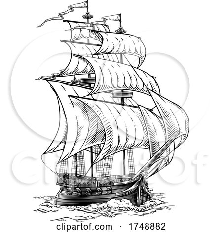 Old Fashioned Ship Vintage Etching Woodcut Style by AtStockIllustration