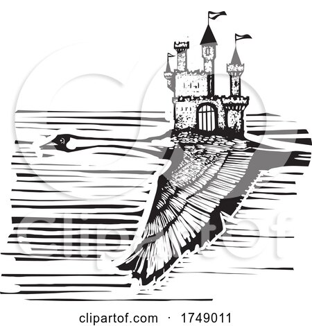 Woodcut Style Swan and Castle by xunantunich