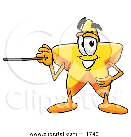 Clipart Picture of a Star Mascot Cartoon Character Holding a Pointer Stick by Toons4Biz