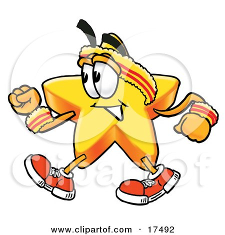 Clipart Picture of a Star Mascot Cartoon Character Speed Walking or Jogging by Toons4Biz