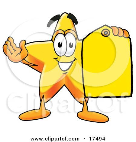 Clipart Picture of a Star Mascot Cartoon Character Holding a Yellow Sales Price Tag  by Toons4Biz