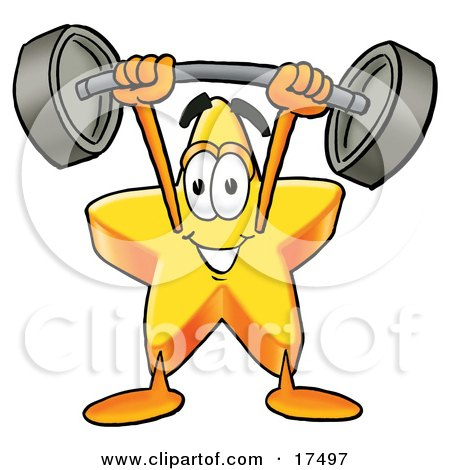 Clipart Picture of a Star Mascot Cartoon Character Holding a Heavy Barbell Above His Head  by Toons4Biz