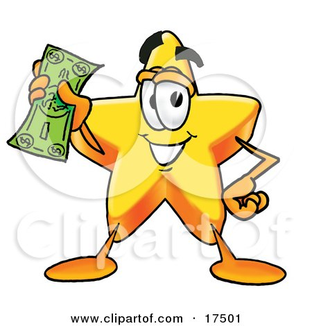 Clipart Picture of a Star Mascot Cartoon Character Holding a Dollar Bill  by Toons4Biz