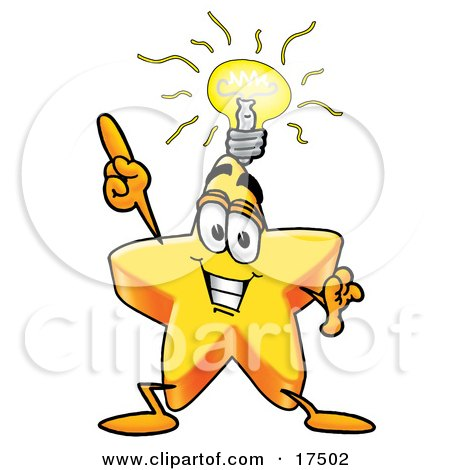 Clipart Picture of a Star Mascot Cartoon Character With a Bright Idea  by Toons4Biz