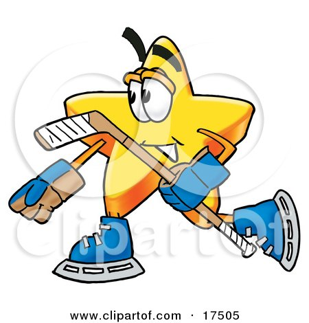 Clipart Picture of a Star Mascot Cartoon Character Playing Ice Hockey by Toons4Biz