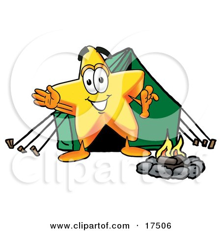 Clipart Picture of a Star Mascot Cartoon Character Camping With a Tent and Fire by Toons4Biz