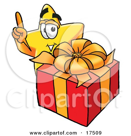 Clipart Picture of a Star Mascot Cartoon Character Standing by a Christmas Present by Toons4Biz