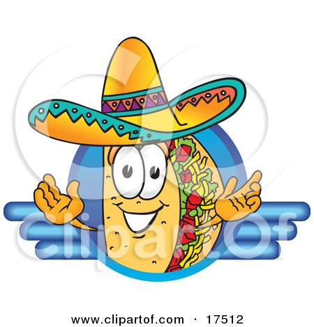 17512-Clipart-Picture-Of-A-Taco-Mascot-Cartoon-Character-On-A-Blank-Blue-Logo.jpg