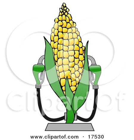Royalty-free Clipart of a Corn Ethanol Fueling Station with Two Pumps by djart