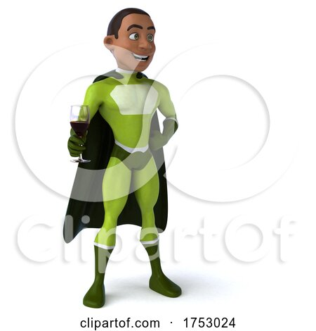 3d Black Male Green Super Hero, on a White Background by Julos