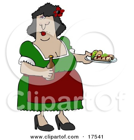 Busty Hispanic Woman Serving Tacos, Burritos and Beer While Waitressing at a Mexican Restaurant Clipart Illustration by djart