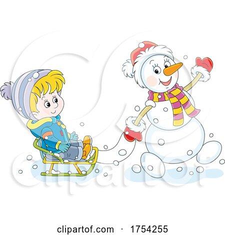 Snowman Pulling a Boy on a Sled by Alex Bannykh