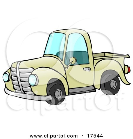 Old Fashioned Yellow Pickup Truck Clipart Illustration by djart