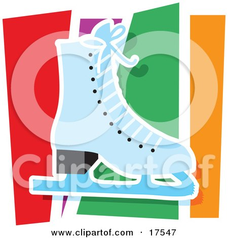 Printposter on Poster  Art Print  Blue Figure Skating Ice Skate Against A Colorful