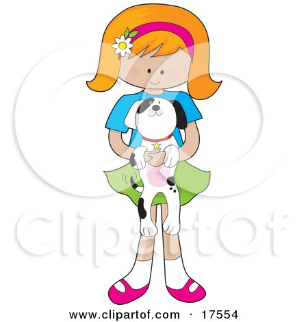 Clipart Illustration of a Cute Little Red Haired Girl With A Daisy Flower On Her Pink Headband, Holding An Adorable Black And White Dalmatian Puppy In Her Arms by Maria Bell