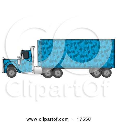 Clipart Illustration of a Blue Camouflage Semi Diesel Truck Pulling A Matching Cargo Trailer by djart