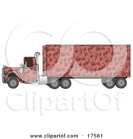 Clipart Illustration of a Pink Semi Diesel Truck With A Pink Camo Pattern, Pulling A Matching Cargo Trailer by djart