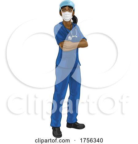 Doctor or Nurse Woman in Medical Scrubs and PPE by AtStockIllustration