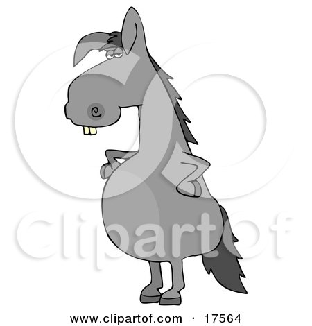 Clipart Illustration of a Funny Looking Buck Toothed Gray Donkey Standing On His Hind Legs With His Hands On His Hips by djart