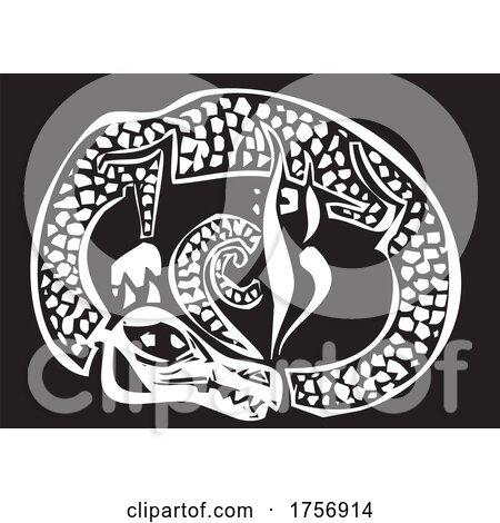 Woodcut Sleeping Dragon by xunantunich