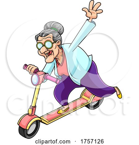 Cartoon Energetic Granny on a Scooter by Hit Toon