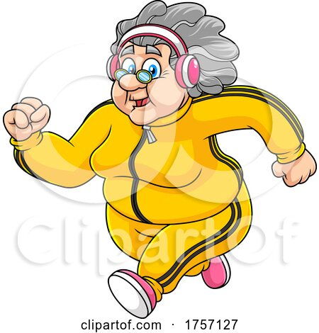Cartoon Healthy Granny Running by Hit Toon