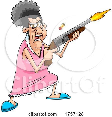 Cartoon Tough Granny Shoopting a Pump Air Rifle by Hit Toon