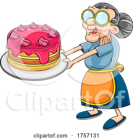 Cartoon Granny Holding out a Cake by Hit Toon