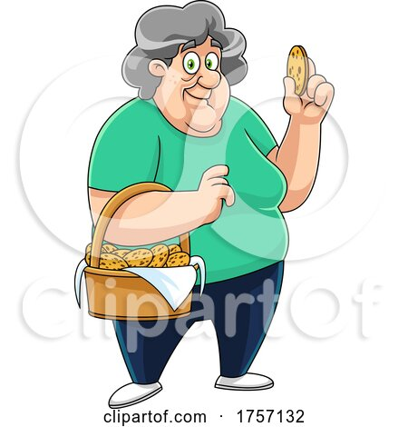 Cartoon Granny with a Basket of Homemade Chocolate Chip Cookies by Hit Toon